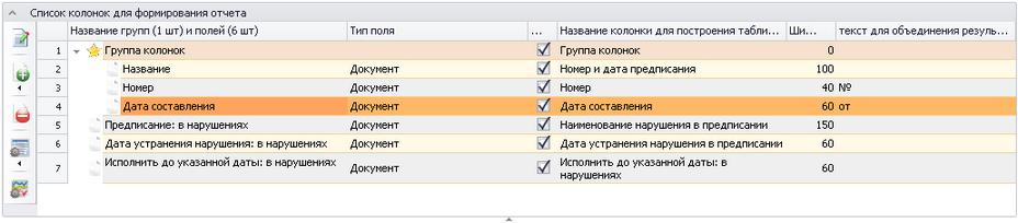 колонок отчет таблица группировка